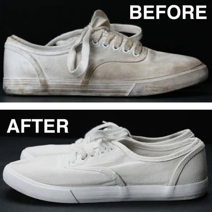 A dirty pair of canvas sneakers with laces, and the same pair of sneakers after applying the mixture, now bright white