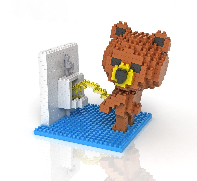 brick set of bear peeing in urinal