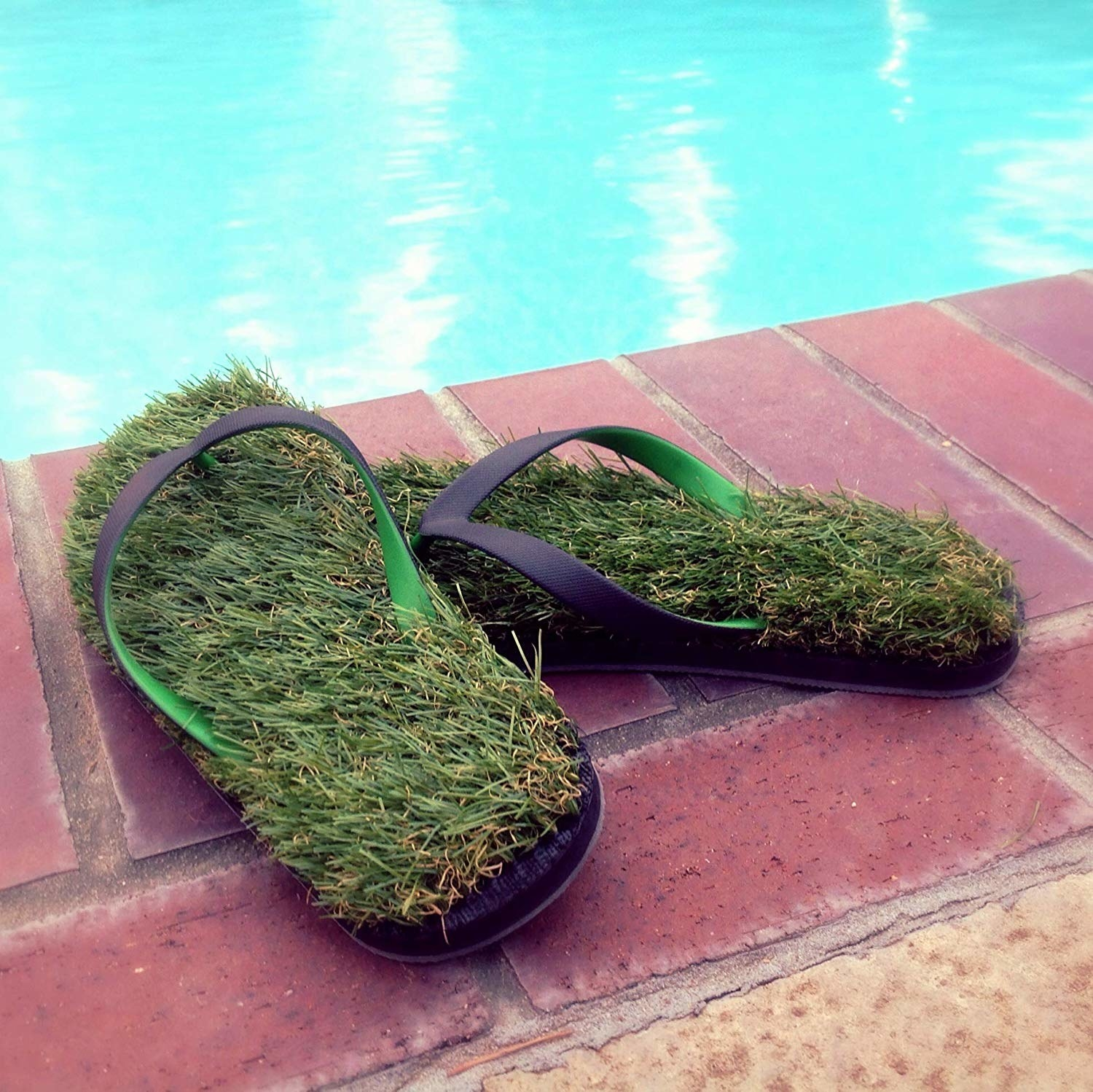 flip flops with grass on it
