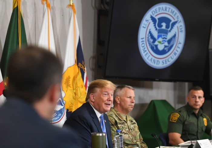 President Trump speaks Friday during a roundtable on immigration and border security at the US Border Patrol Calexico Station in Calexico, California.