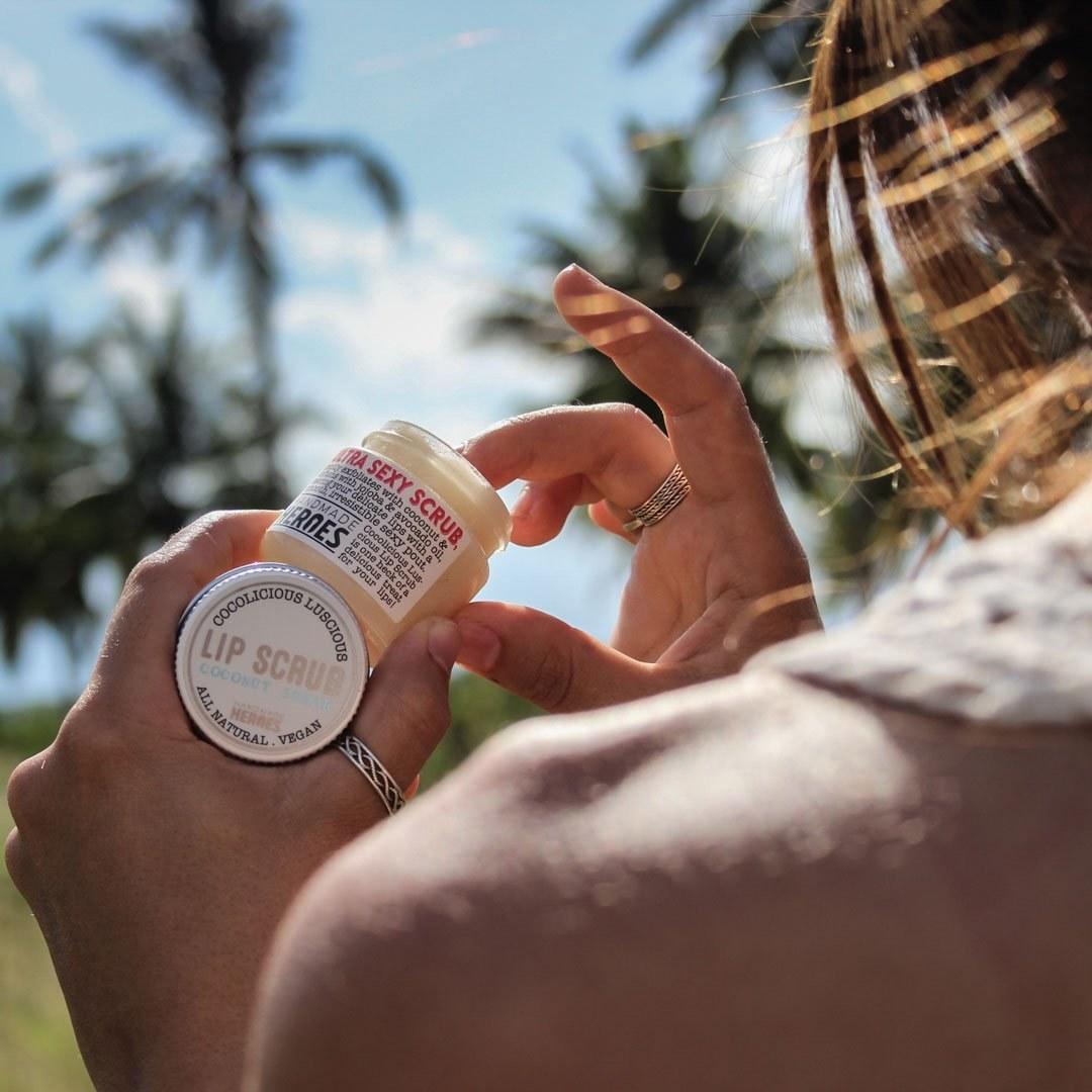 small jar of coconut scrub