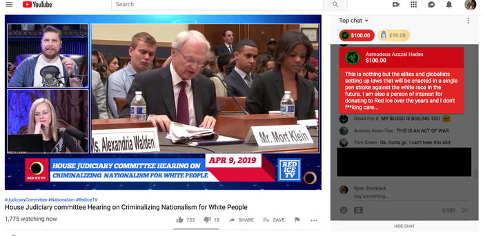 A screenshot from Red Ice TV, a white nationalist YouTube channel that was livestreaming Tuesday's congressional hearing on white nationalism.