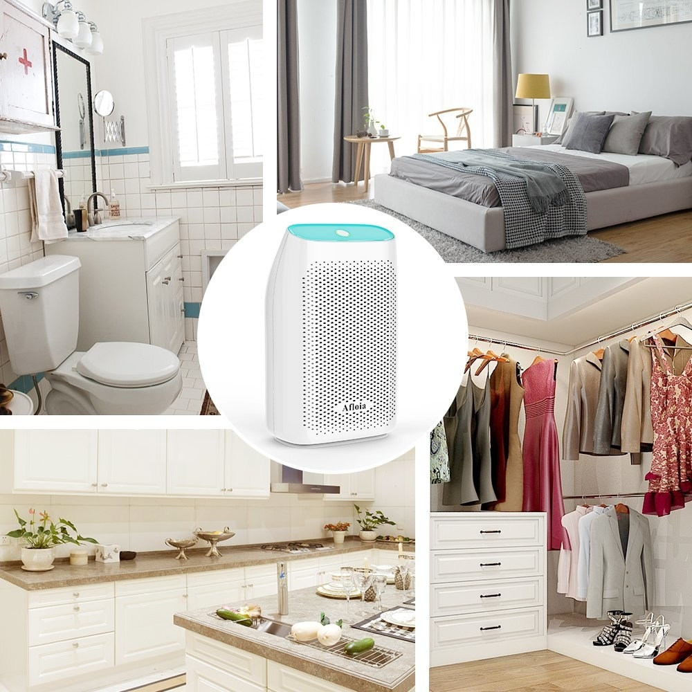 small white dehumidifier next to pics of a closet, kitchen, bathroom, and bedroom