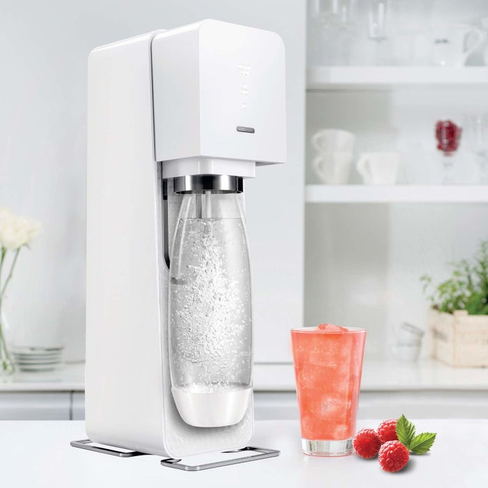 """It's powered by a reusable CO2 canister that can make up to 60 liters of sparkling water.Promising review: """"I absolutely love making my own soda. I love being able to make the flavors I want when I want them and NOT having to pay the extra I'd normally pay. I also love the space I save in my refrigerator by not having half a dozen two-liters or boxes of cans in it. Plus, I get to choose how strong the soda flavor is as well as how much carbonation is in the soda. Can't beat that."""" —Connie FlintGet it from Amazon for $69.99 (available in two colors)."""