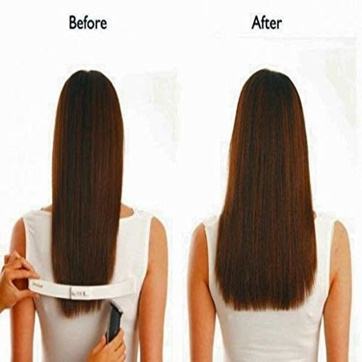 before and after haircut trims with the clip