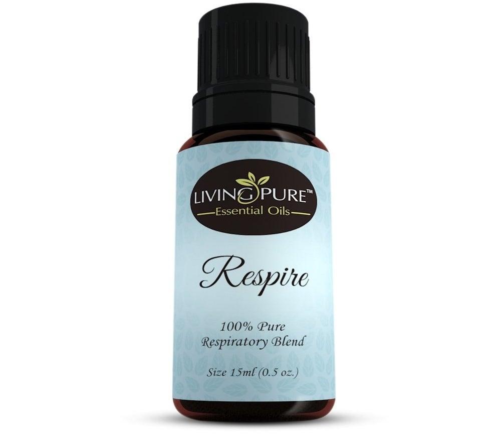 bottle of Respire essential oil blend