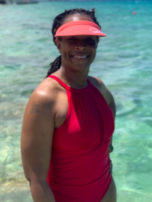 another reviewer in the bathing suit in red