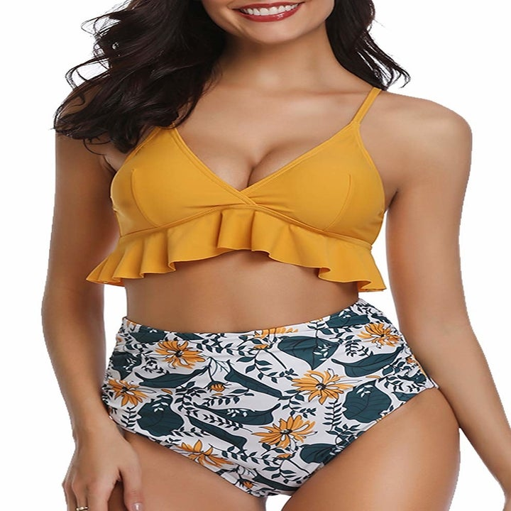 model in the yellow and floral version