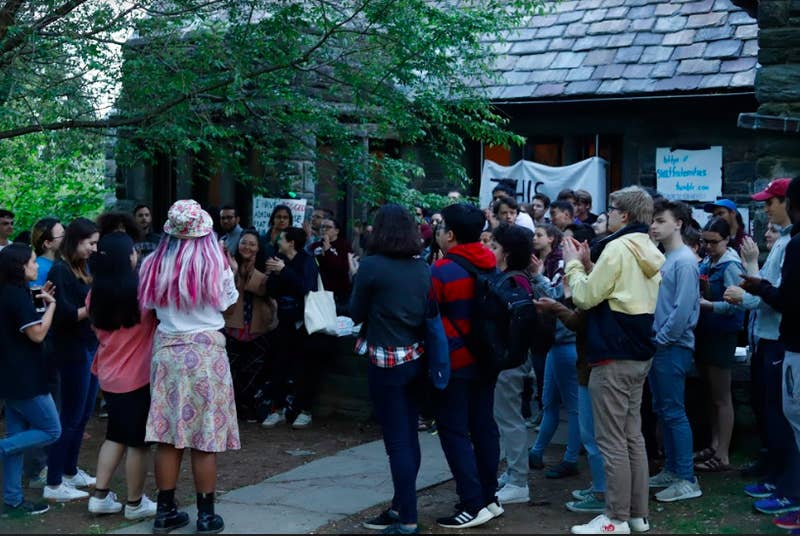 Protesters outside the Phi Psi fraternity house at Swarthmore College.