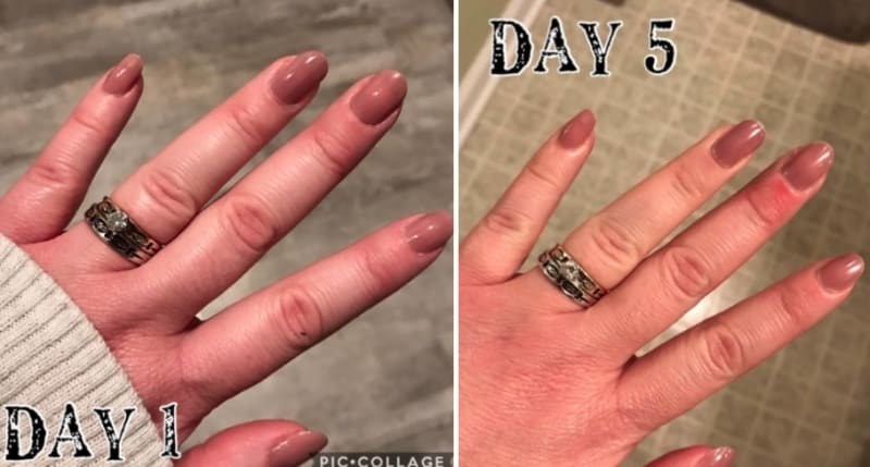 on left, reviewer's freshly-painted mani. On right, same mani five days later after using fast-drying top coat