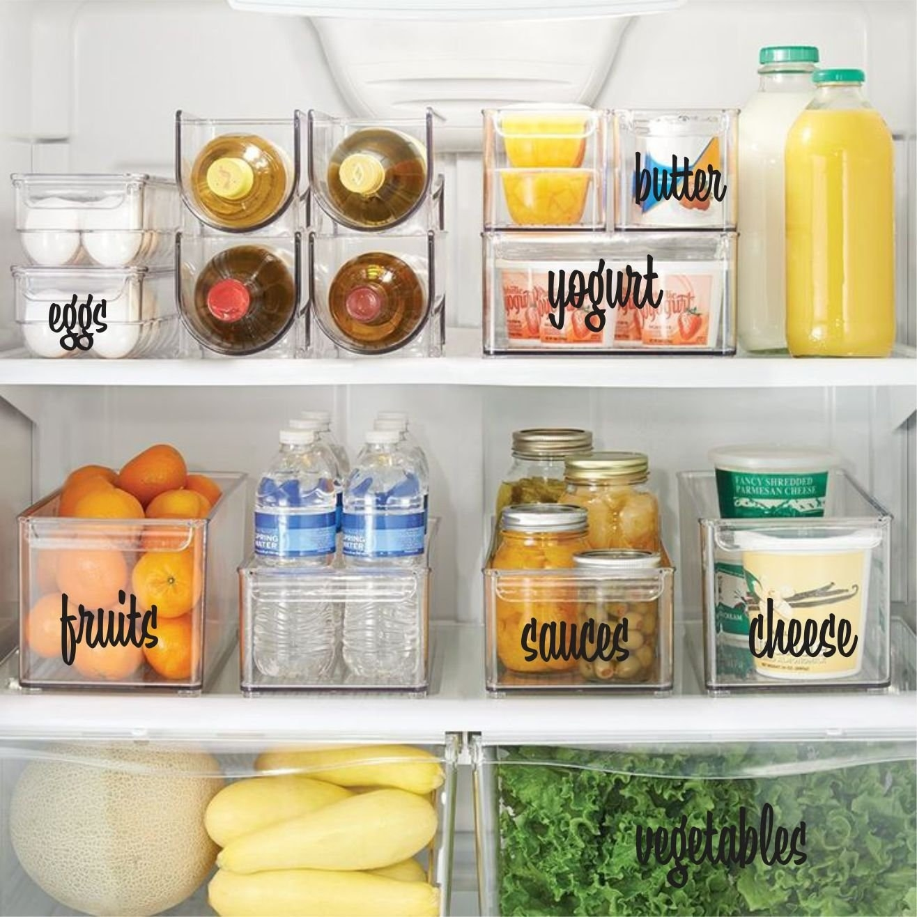 fridge with plastic bins labeled with black bold easy-to-read cursive