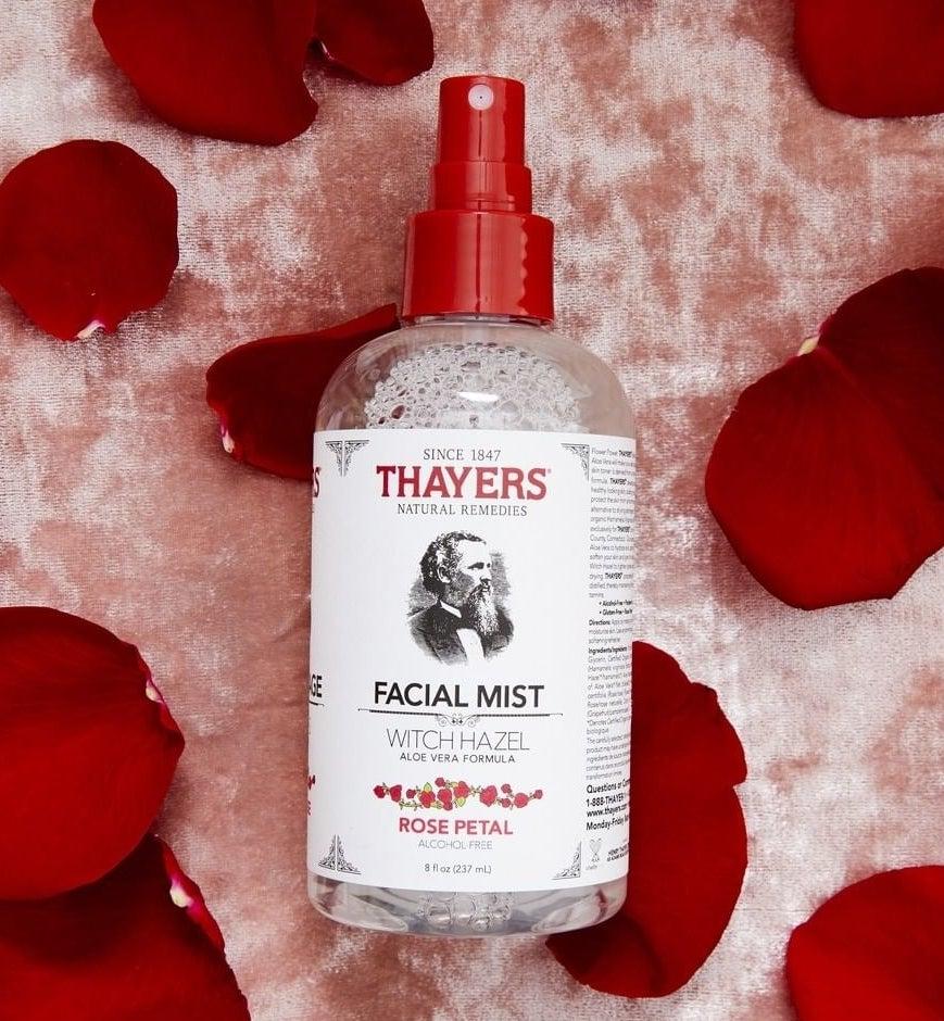 Spray bottle of witch hazel with aloe vera