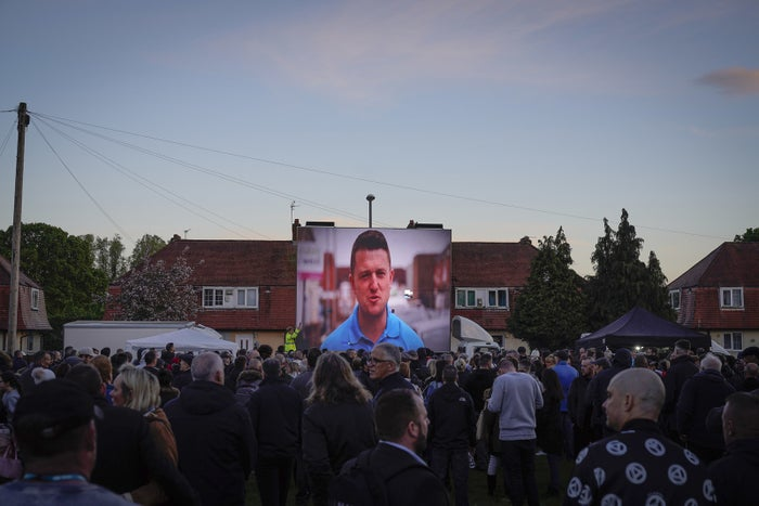 Tommy Robinson launches his EU election campaign in Wythenshawe, England.