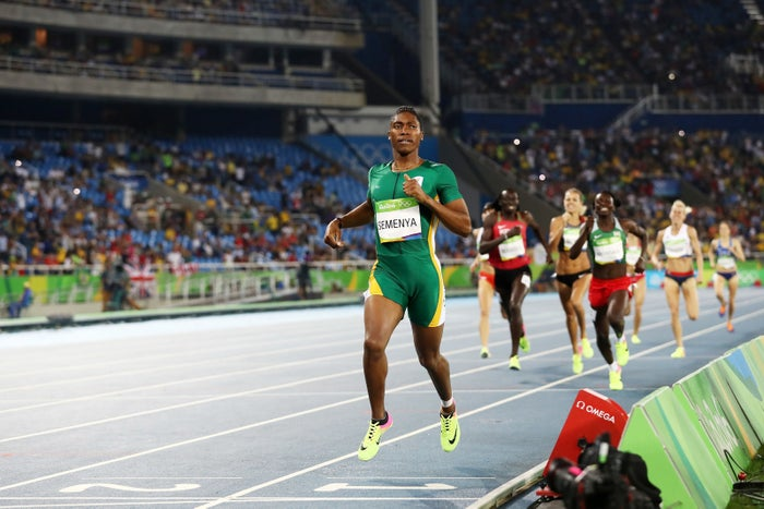 Caster Semenya of South Africa leads the field during the Women's 800-Meter Final at the Rio 2016 Olympic Games.