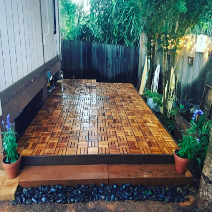 reviewer pic of the tiles used on an outdoor patio