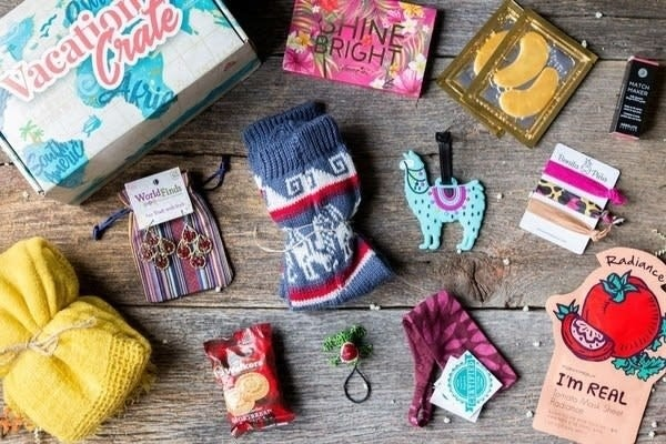 """What you get: 10+ products a month including fair-trade, handmade accessories from cooperatives around the world, and full-sized, cruelty-free beauty products Promising review: """"This was the perfect gift for my wife, who loves to travel. She said it really does feel like a little getaway in a box. She loved it!"""" —MatthewGet it from Cratejoy for $38 a month (available in 3, 6, or 12-month subscriptions)."""