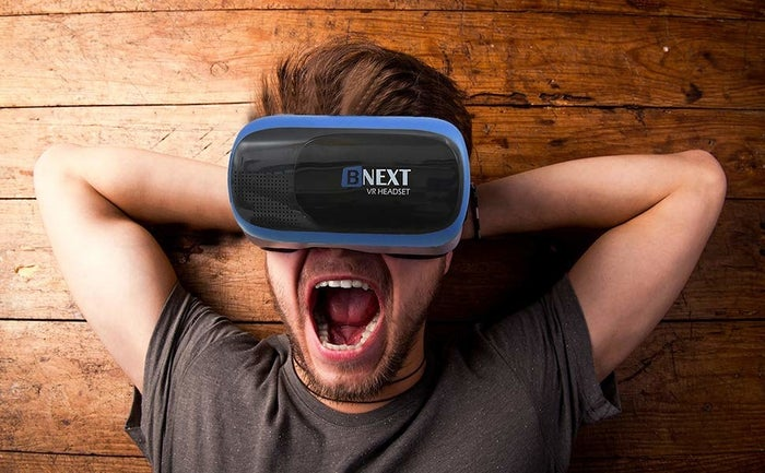 """Promising review: """"Really fun VR headset. I Liked that the company also provided some content to use with the goggles. I am really new to VR in general, so the fact that this came with such clear instructions and accessible VR videos and games really made me feel more comfortable with it much faster."""" —dealshunterGet it from Amazon for $34.99."""
