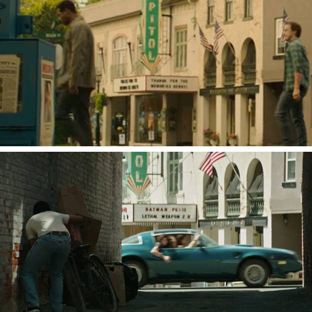 """It's hard to read what it says in the Chapter Two trailer, but the marquee now says: """"Thanks for the memories, Derry!"""""""