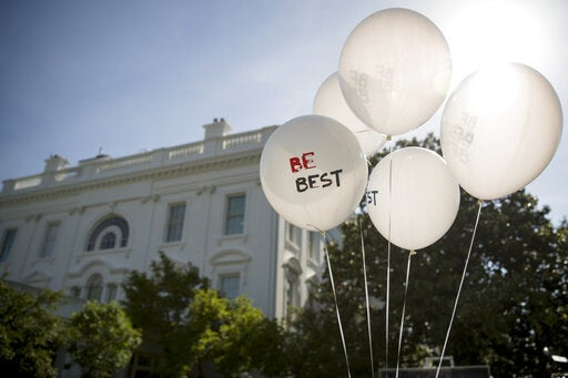 Balloons at the White House for the anniversary event for Melania Trump's Be Best initiative.