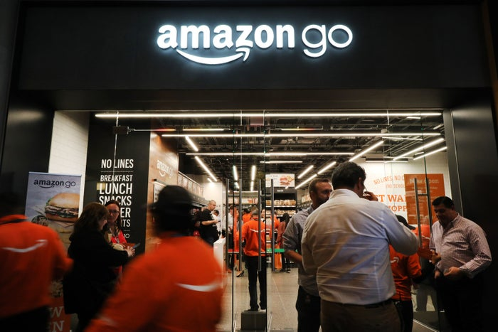 People shop at the newly opened Amazon Go store on May 7, 2019, in New York City.