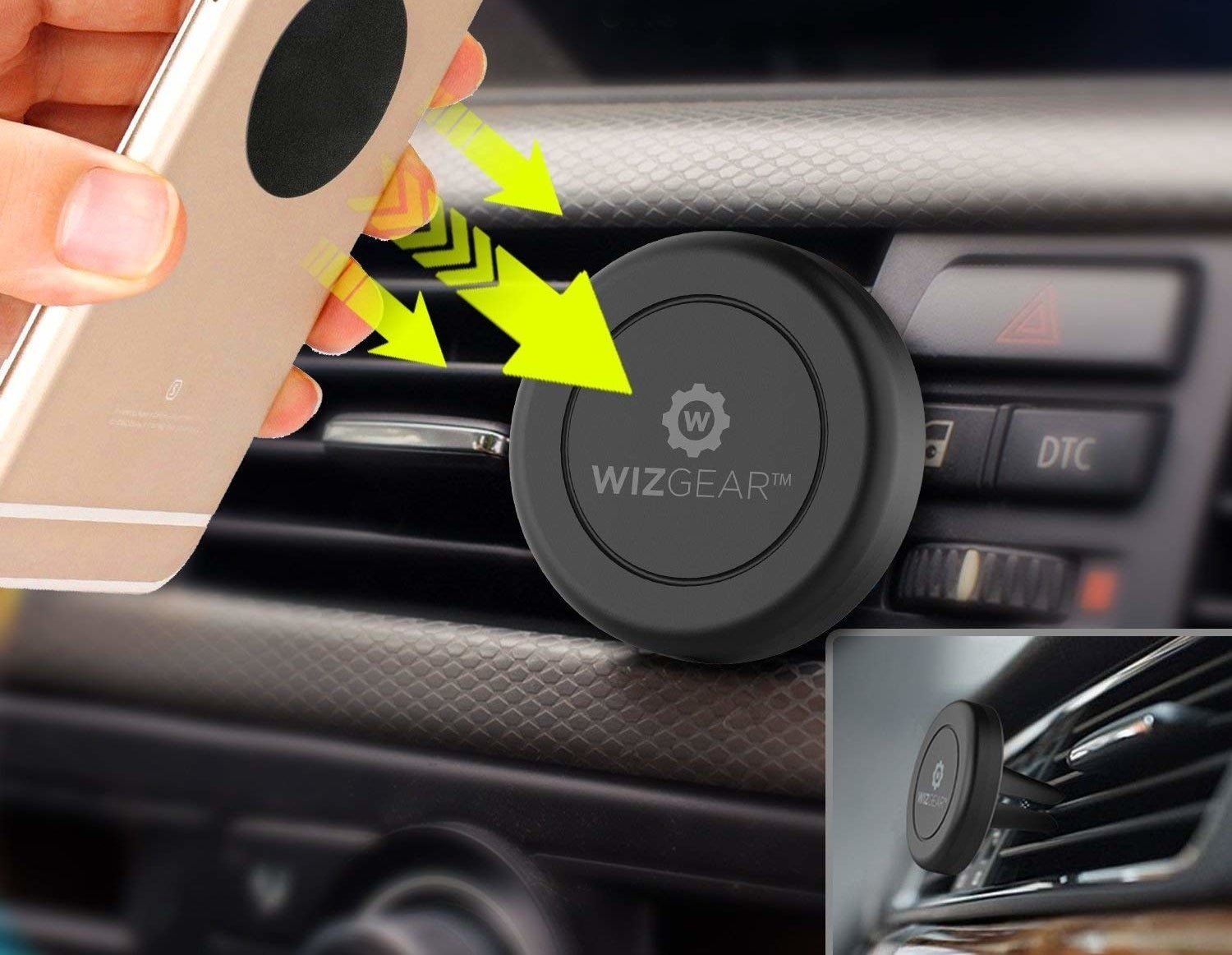 A person attaching their phone to their car's air vent using the magnetic car mount.
