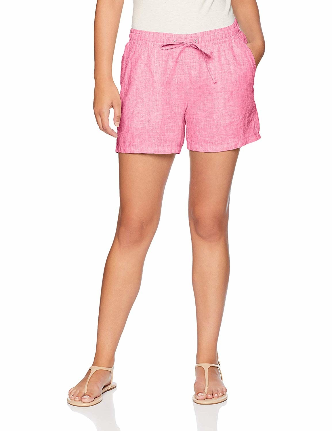 Model wearing the shorts in pink