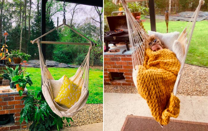 """Promising review: """"There is a reason people still hang hammocks from their trees. And this hammock chair is a perfect example! The wood frame is very sturdy, the knots are well done and the fabric is soooooo soft. I'm 150 lbs. and it held me beautifully, like a babe in the womb. And it holds my husband's 200-lb. frame easily as well. The day it was hung I sat in it for hours and even took a little siesta. Heaven! The only problem I have is that now we need another one because my husband and I fight over who gets to sit in it! Fantastic product! Best money I've spent in a long time!"""" —BN-Katy TXGet it from Amazon from $59.97 (available in two colors)."""