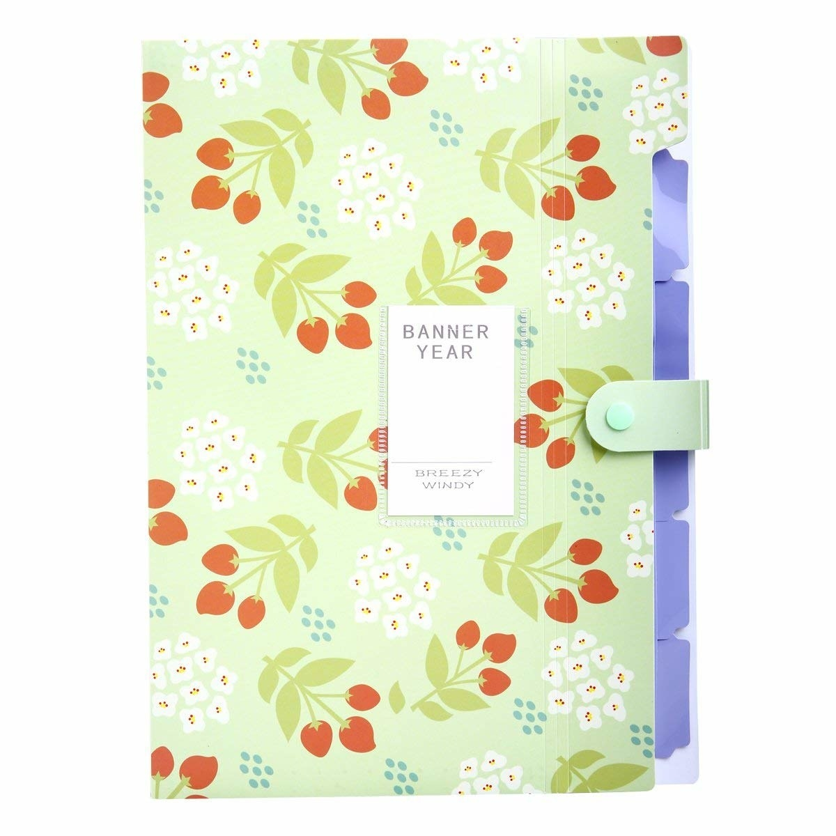 folder with a floral motif on the front and tabs on the side