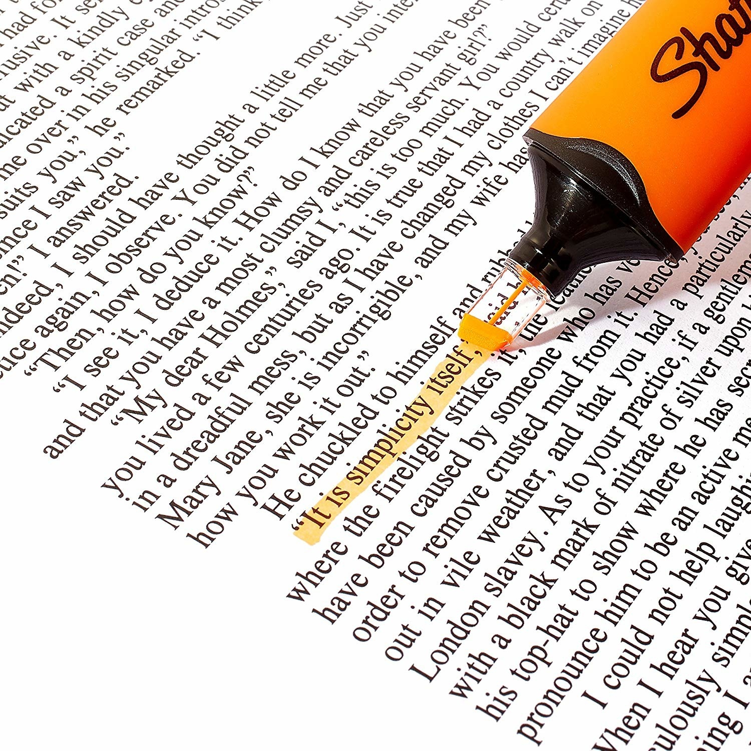 The highlighter being used on text.