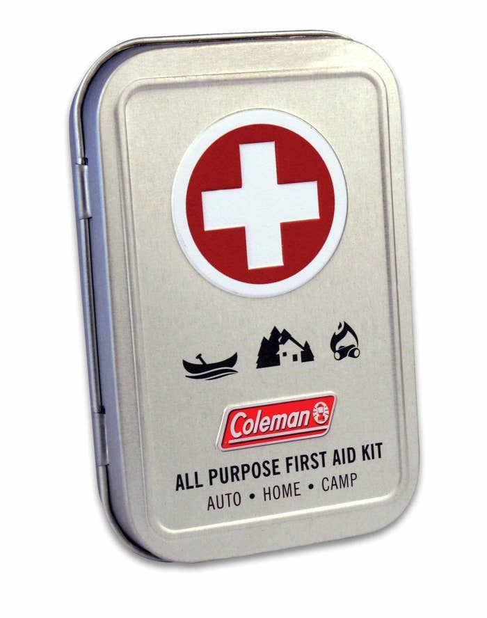 """Includes three antiseptic wipes, two sting relief wipes, two packs of antibiotic ointment, six 1""""x3"""" latex-free bandages, four small bandages, two butterfly bandages, two spot bandages, two knuckle bandages, one 2"""" safety pin, one 1"""" safety pin, one razor blade, and one reusable tin.Get it from Amazon for $6.99."""