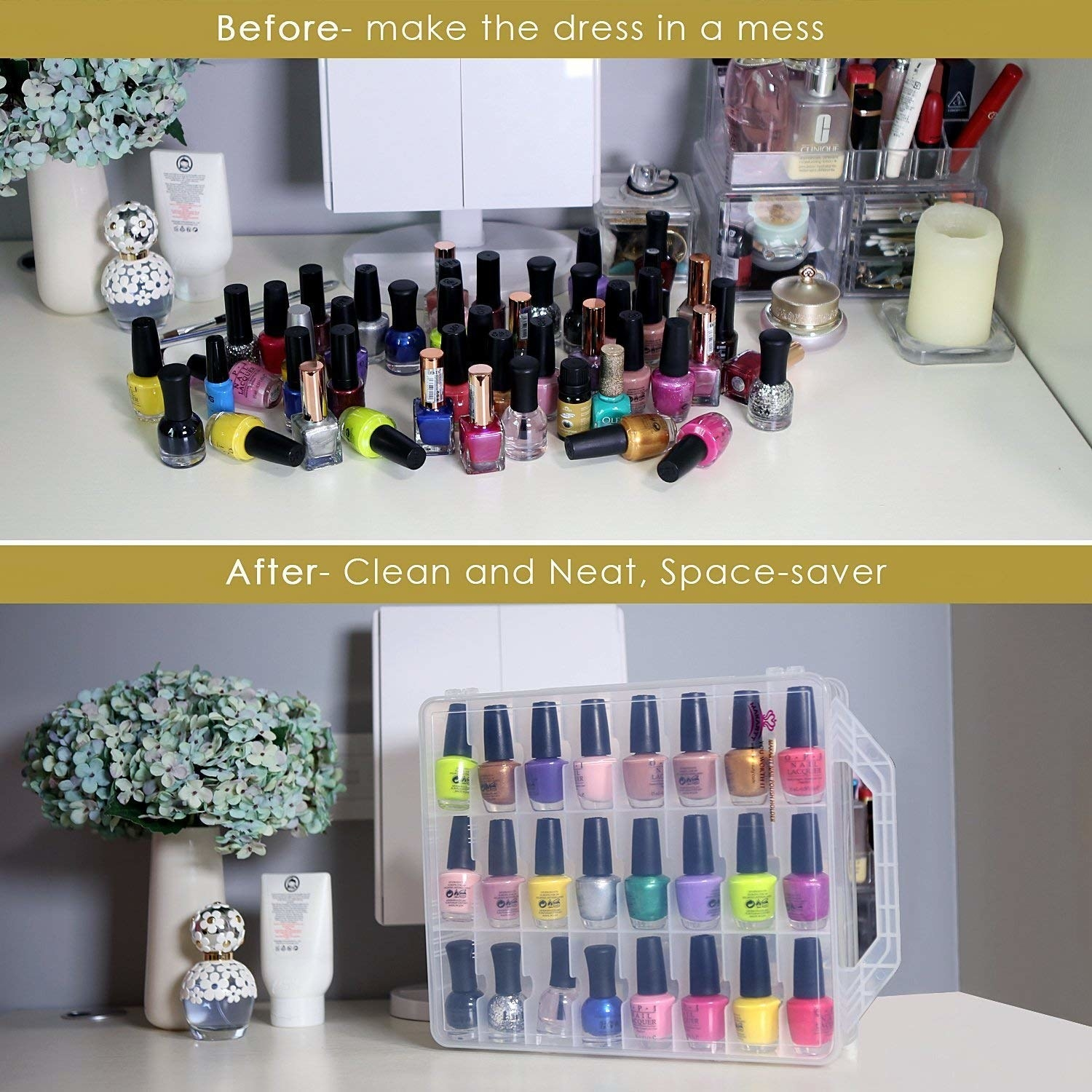 A before and after pic of multiple nail polish bottles laid out and then organized in the case.