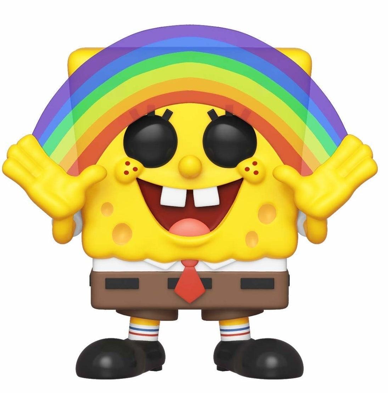 A Spongebob figure holding up a translucent rainbow