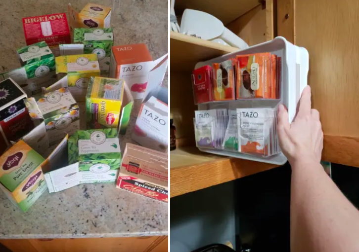 (left) Reviewer photo of 13 boxes of tea (right) Reviewer photo putting the tea organizer in the cabinet with the tea bags nicely fitting inside