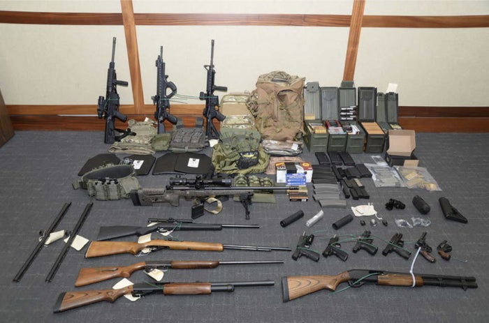 Weapons and ammunition federal agents say they found in Christopher Paul Hasson's home.