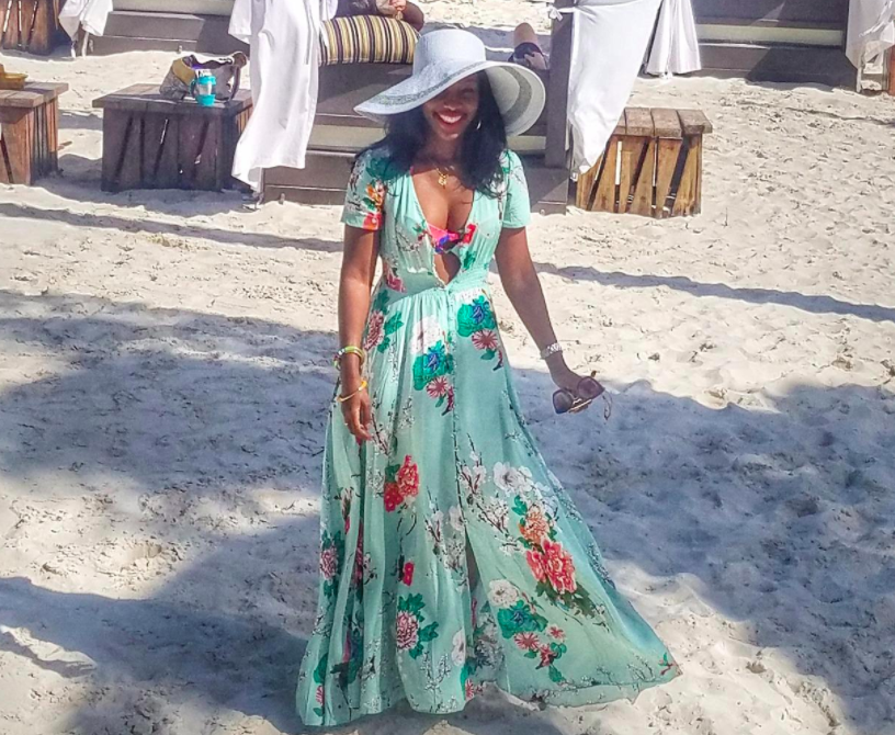 A customer review photo of the maxi dress in light green.