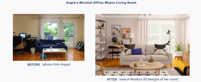 Modsy is an online service that provides you with custom design plans based on photos and dimensions of a room you'd like to redesign, as well as your budget and style preferences. For $69, you'll get two initial designs (sent to you as renderings of your exact room in both 2D and 3D versions) and the ability to work with the Modsy team on unlimited design revisions until they're just right. The cool thing about this service is that you don't have to feel obligated to buy anything once your designs are complete. Of course if you have the means to invest in a brand-new couch or area rug, go for it! But the designs can simply serve as inspiration for a room redo as well. Maybe you have no idea where to start and are just looking for a baseline ~vibe~, or maybe you'll want to purchase new pieces slowly, one by one, over a longer span of time. (That's my plan.)
