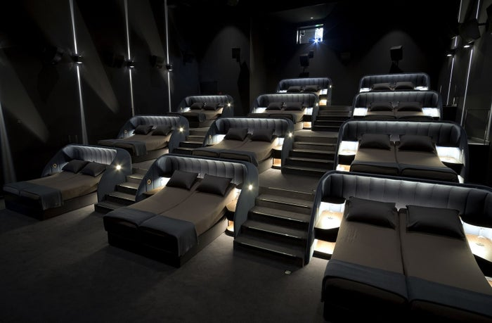 Yes, you heard that right. It's a theater full of beds for the ultimate movie watching experience.