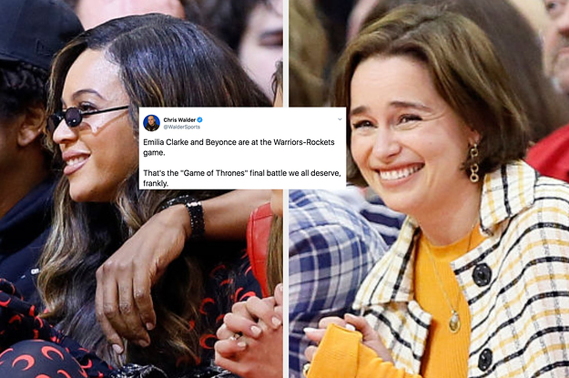 Im Obsessed With These Pics Of Beyoncé And Emilia Clarke At The Same Basketball Game