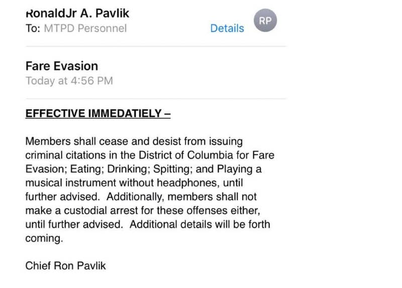 Email from Transit Police Chief Ron Pavlik.