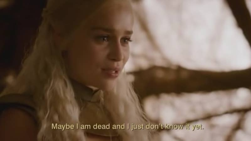 """Maybe the """"bittersweet"""" ending – and the way she'll be reunited with Drogo and her lost family. Although, uh, I don't know where the """"sweet"""" really comes into it, it's more just bitter. And honestly, even these visions and other moments of foreshadowing don't negate the fact that the past two seasons haven't adequately explored Daenerys' downfall, with this season in particularly feeling rushed and underdeveloped."""