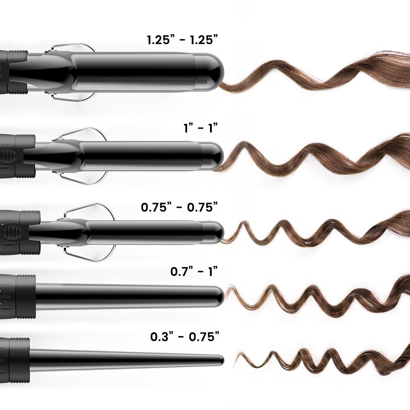 """The five barrels with example curls: 1.5"""", 1"""", .75"""", .7-1"""" tapered and .3-.75"""" tapered"""