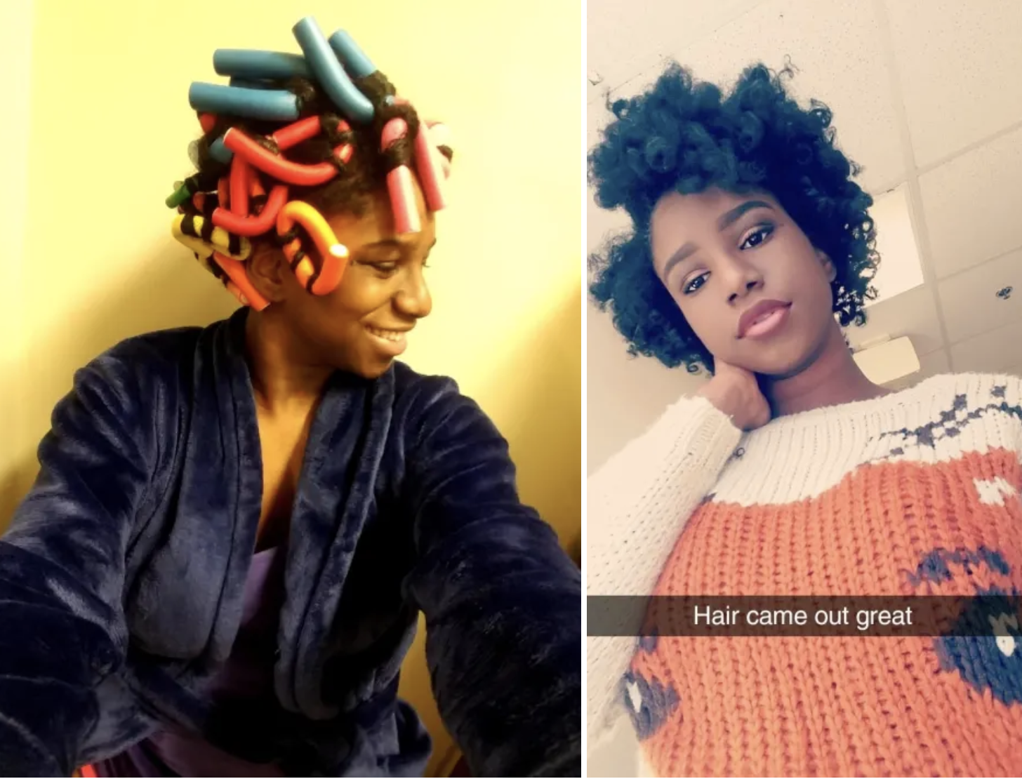Left: A reviewer with the foam rods in their hair / right: The same reviewer with voluminous curls in their hair after use (type 4C hair)