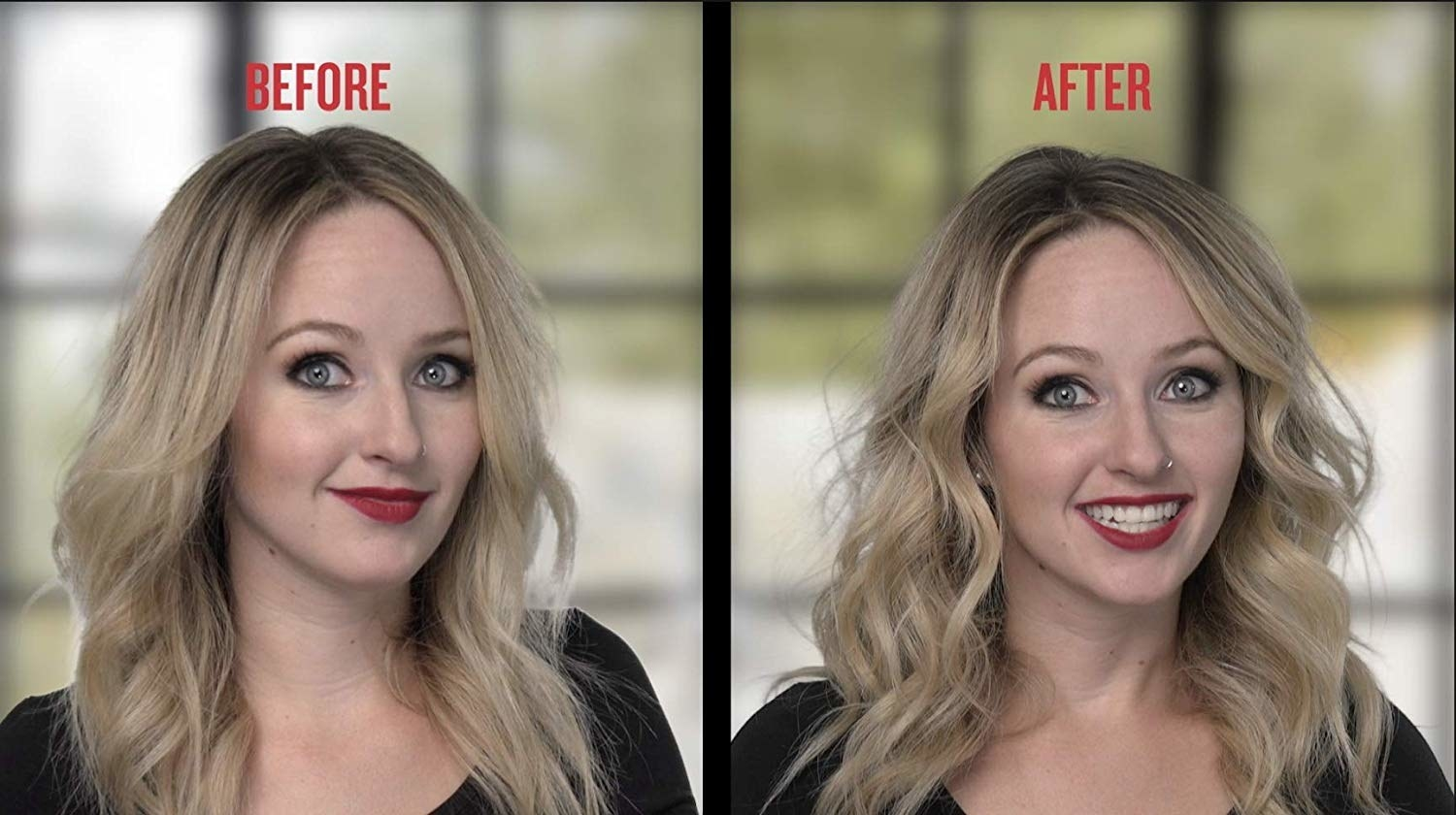 A model before/after with wavy-straight hair before and wavy-curly, voluminous hair after