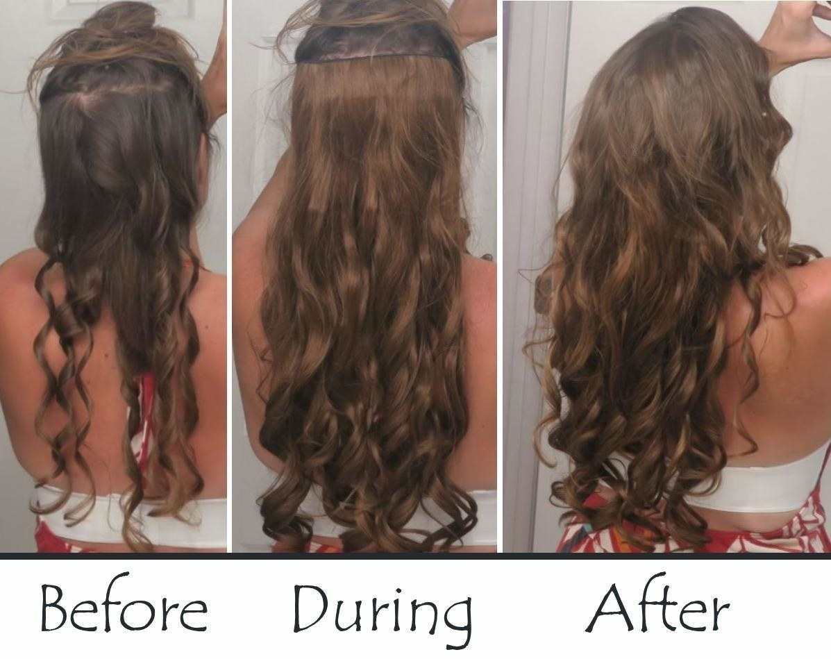 A reviewer showing the clip-in process: before clipping in with thinner hair, showing how the reviewer put them in the middle of their hair with the top section of hair pinned up, and then after with tons of long hair