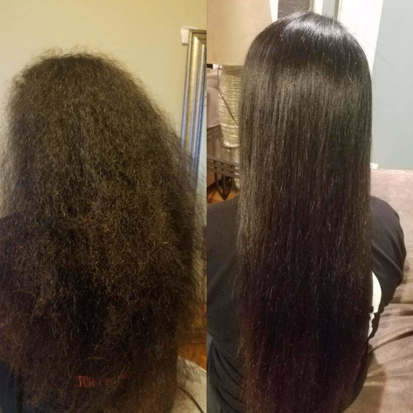 A before/after of a reviewer's hair: on the left with frizzy brushed out hair, on the right the same hair sleek and straight