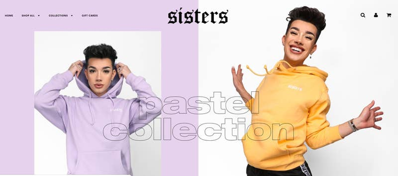 A cached view of the Sisters Apparel website.