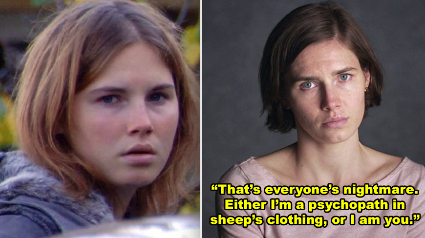 Amanda Knox being filmed after the murder of her roommate, then a photo of Amanda Knox several years later being interviewed