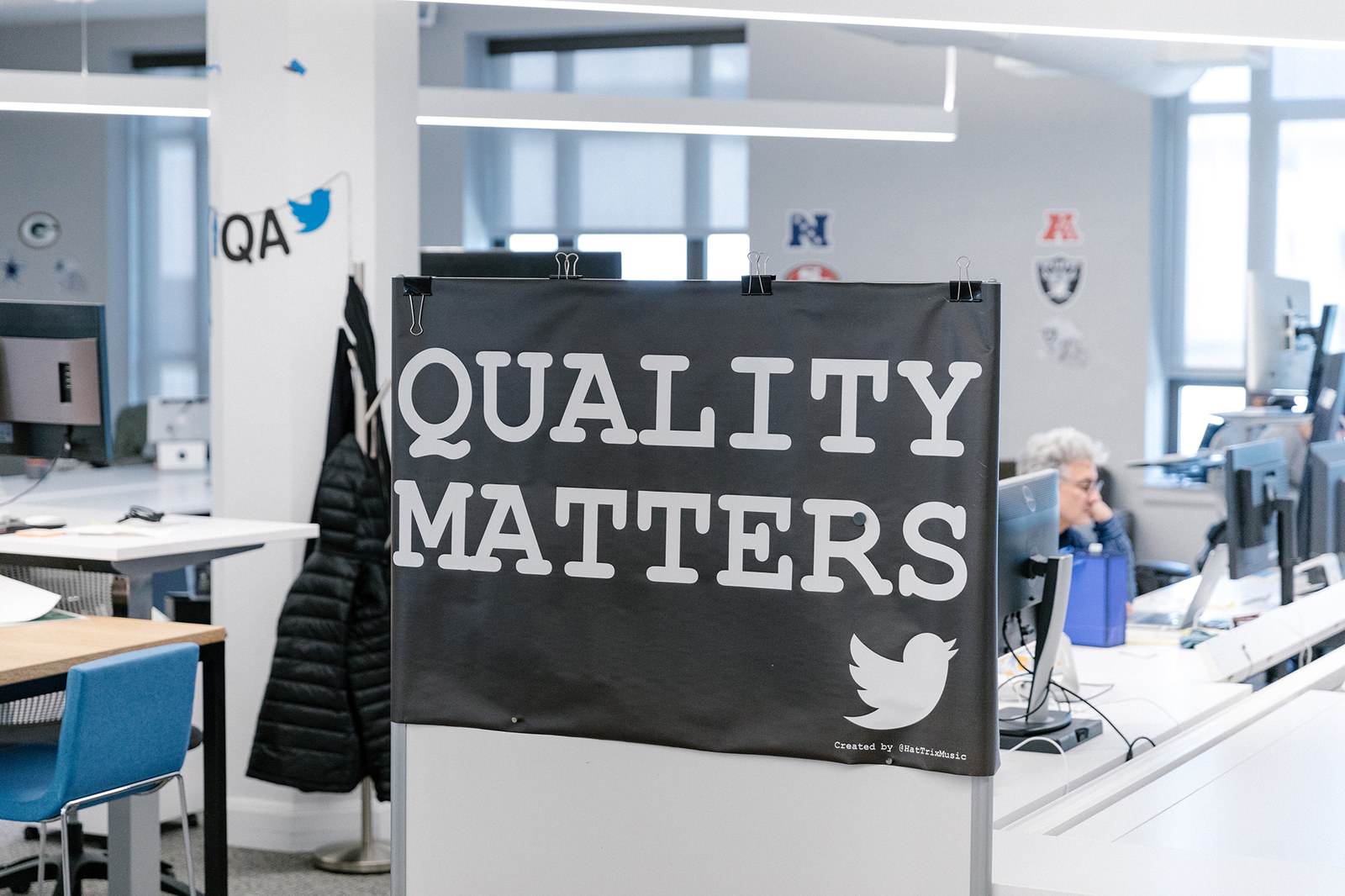 A sign at the Twitter office in San Francisco, May 8, 2019.