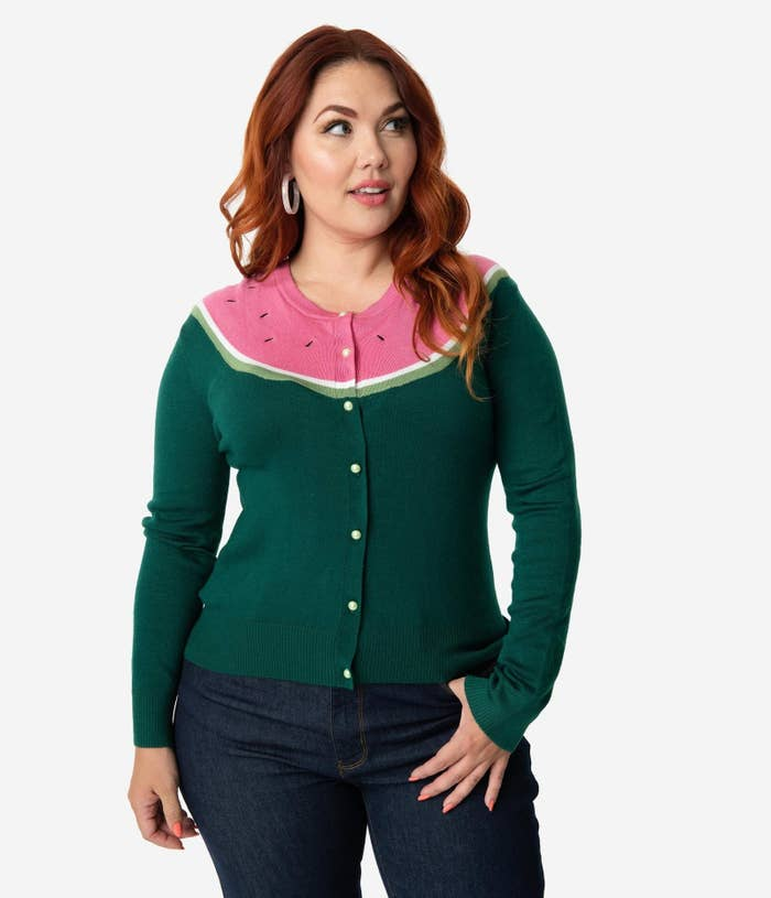 5c7a19f3be0337 An OMG-worthy watermelon print cardigan that s the most adorably summery  way to cover up on chilly nights that I ever did seed.