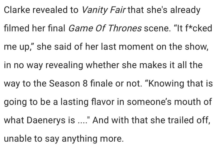 In the past, she's talked a lot about how meaningful Daenerys has been to her as a character, and how her strength got her through difficult times.